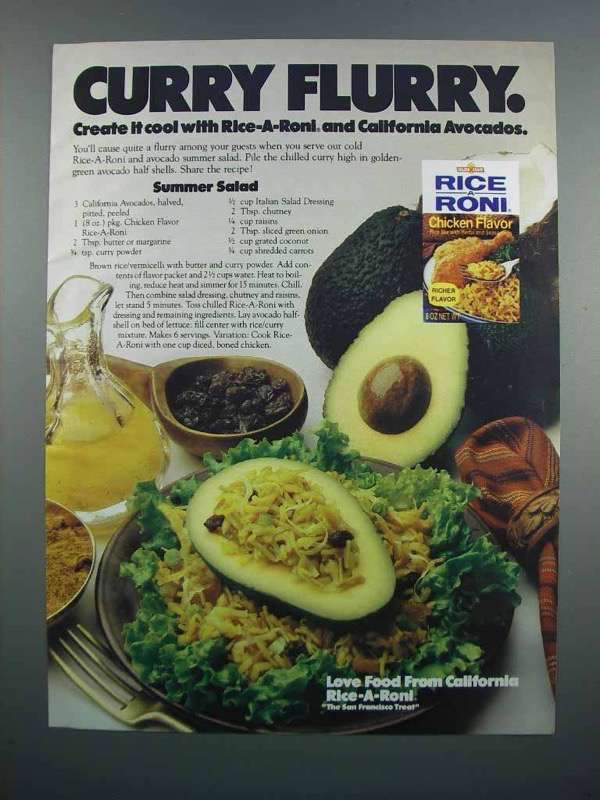 Primary image for 1983 Rice-A-Roni Chicken & California Avocados Ad