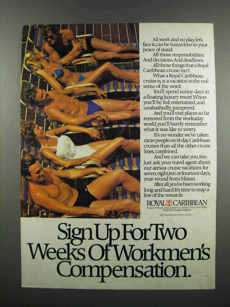 Primary image for 1983 Royal Caribbean Cruise Ad - Workmen's Compensation