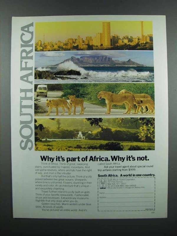 Primary image for 1983 South Africa Tourism Ad - Why It's Part of Africa