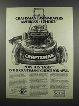 1983 Sears Craftsman Eager-1 20-inch Lawnmower Ad - $14.99