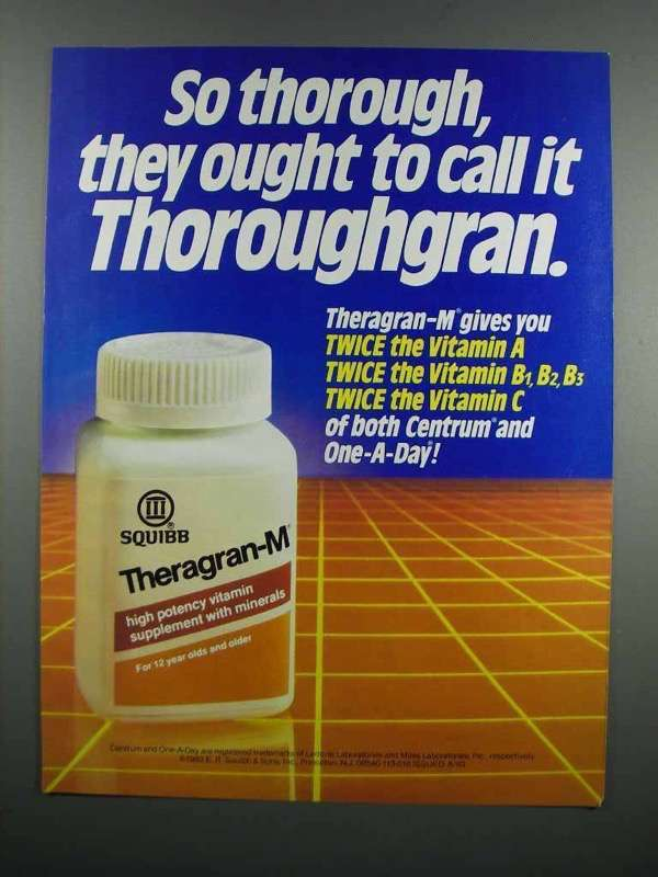 Primary image for 1983 Squibb Theragran-M Ad - So Thorough