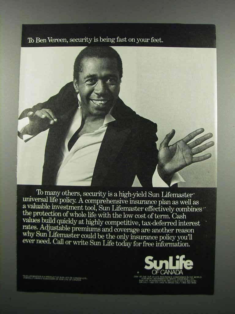 Primary image for 1983 Sun Life of Canada Ad - Ben Vereen
