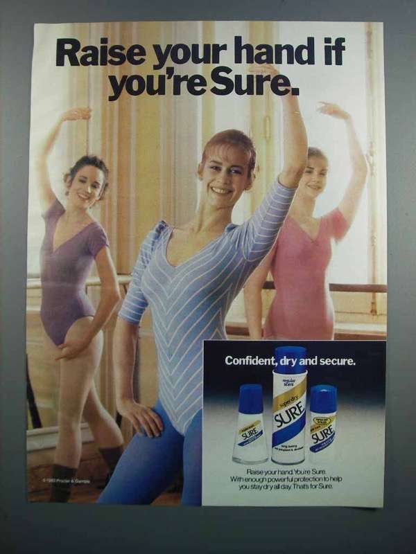 Primary image for 1983 Sure Deodorant Ad - Raise Your Hand if You're Sure