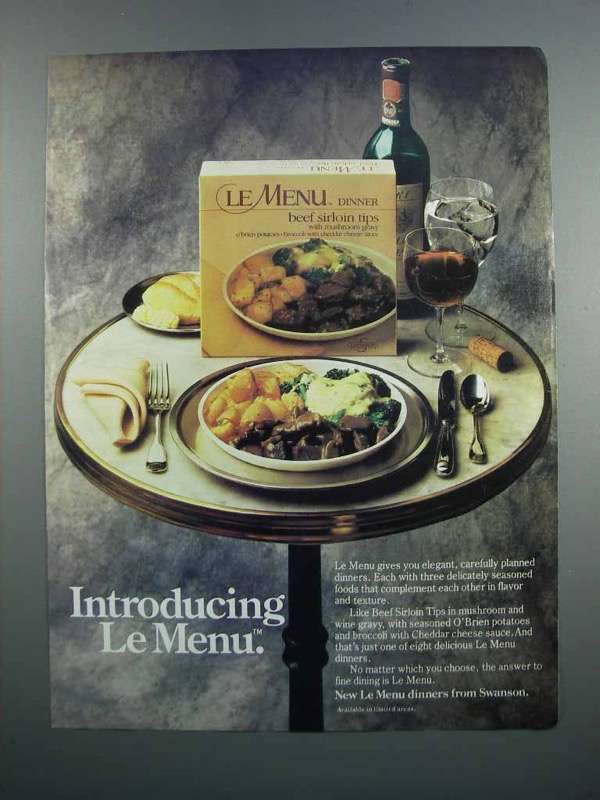 Primary image for 1983 Swanson Le Menu Beef Sirloin Tips Ad