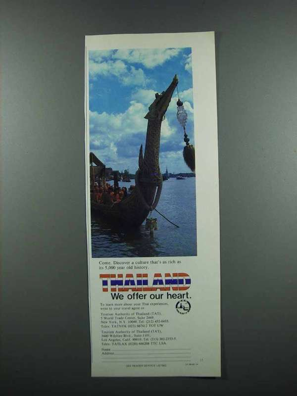 Primary image for 1983 Thailand Tourism Ad - We Offer Our Heart