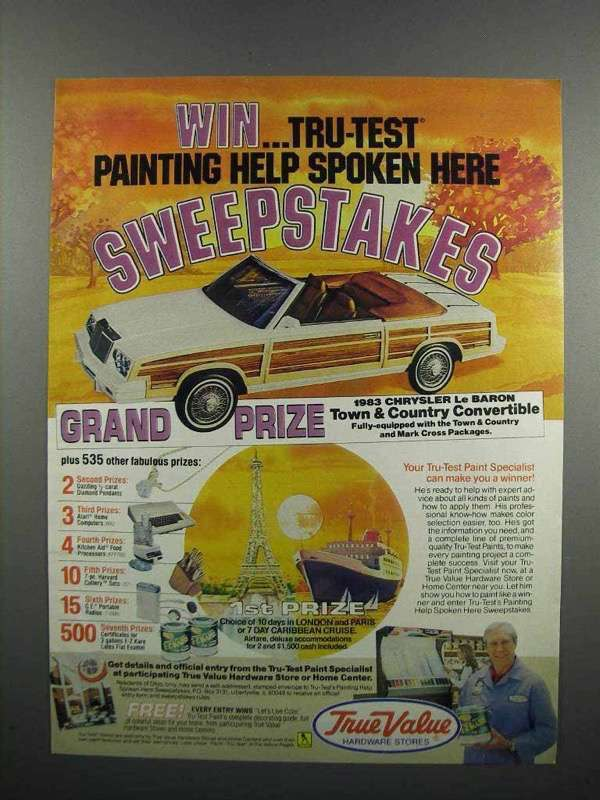Primary image for 1983 True Value Tru-Test Paints Ad - Chrysler Le Baron