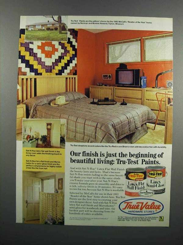 Primary image for 1983 True Value Tru-Test Paints Ad - Our Finish