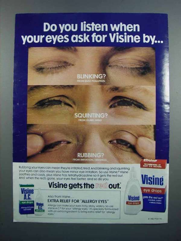 Primary image for 1983 Visine Eye Drops Ad - Do You Listen