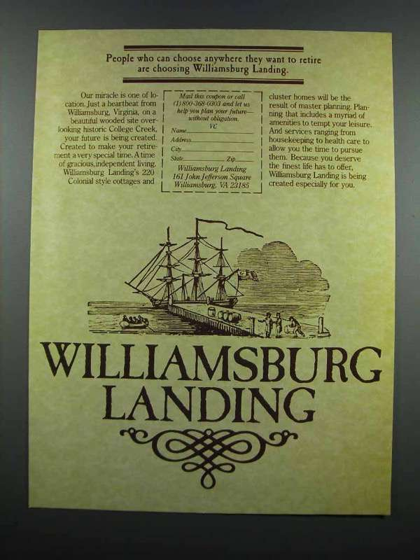 Primary image for 1983 Williamsburg Landing Ad - Want to Retire