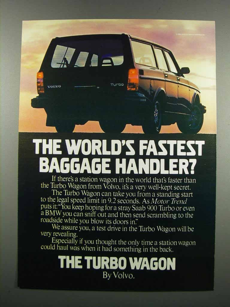 Primary image for 1983 Volvo Turbo Wagon Ad - Baggage Handler