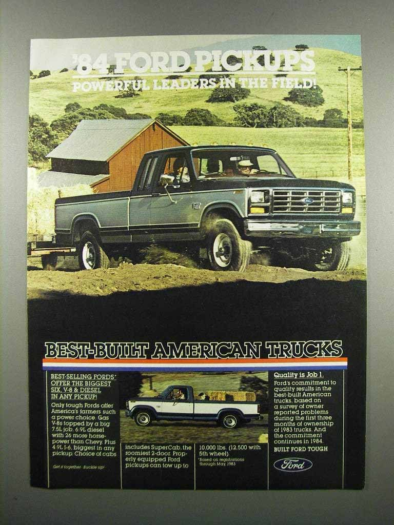 Primary image for 1984 Ford Pickup Trucks Ad - Powerful Leaders