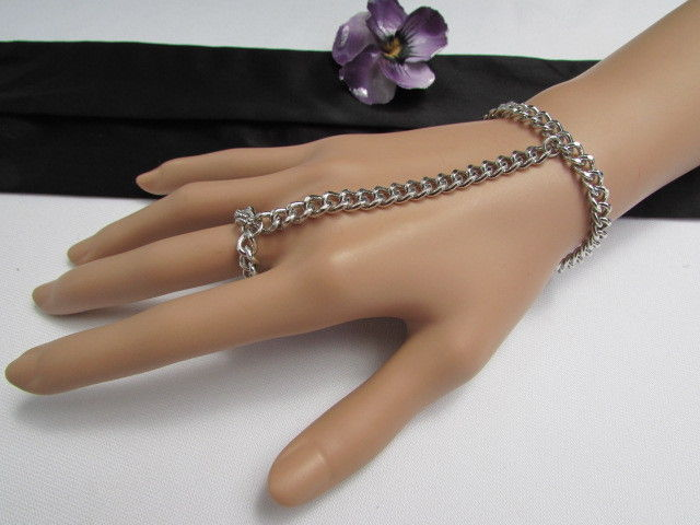 Primary image for NEW WOMEN SILVER FASHION CHUNKY THICK HAND CHAINS WRIST BRACELET TO SLAVE RING