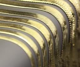 "Mens & Lady 14K Gold Plated 4mm 5mm 6mm 7mm Flat 30"" Herringbone Necklac... - $8.42+"