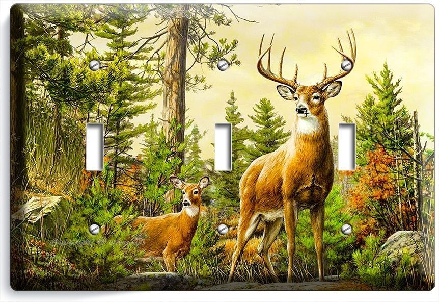 Primary image for WHITETAIL WILD DEER BUCK ANTLERS TRIPLE LIGHT SWITCH WALL PLATE COVER HOME DECOR