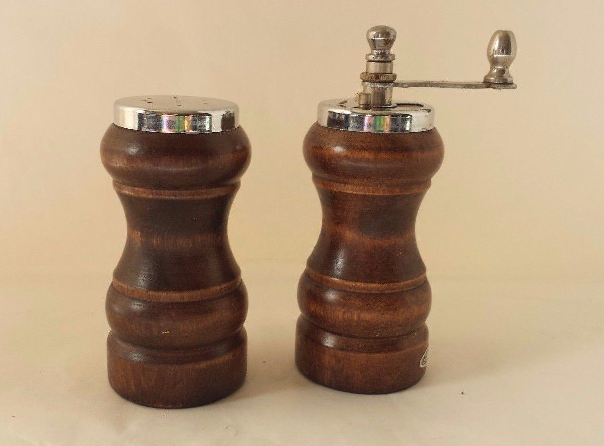 "Primary image for Vintage Wood Salt Shaker and Pepper Grinder Made in Japan 3 3/4"" Tall"