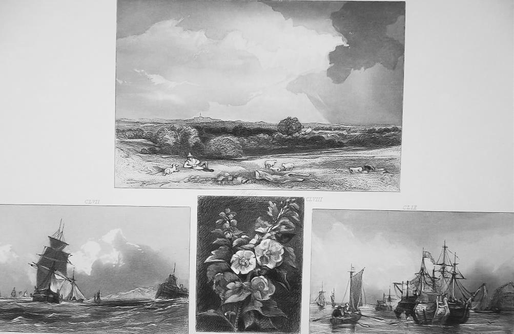 1847 Print Multiple Views - Norfolk Coast, Chatham Ships on Medway, Collier Brig