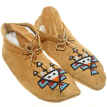 "Plains Indian 9.5"" Beaded Brain Tanned Leather Moccasins Mid Century c1950s - $399.00"