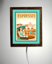 Espresso Coffee House Itilian Italy Retro Teal ... - $47.47
