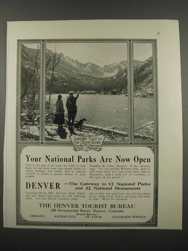 Primary image for 1918 Denver Tourist Bureau Ad - National Parks Now Open