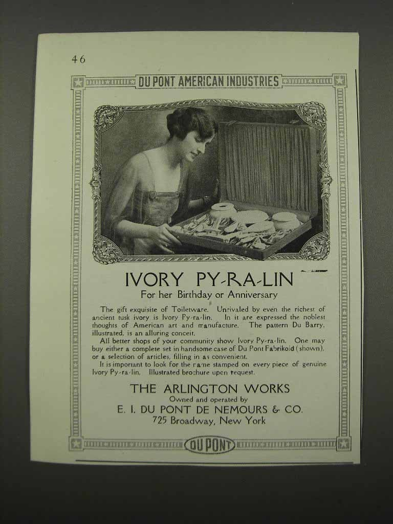 Primary image for 1918 Du Pont Ivory Py-ra-Lin Ad - For her Birthday