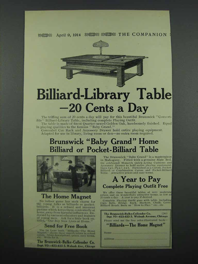 Primary image for 1914 Brunswick Convertible Billiard - Library Table Ad