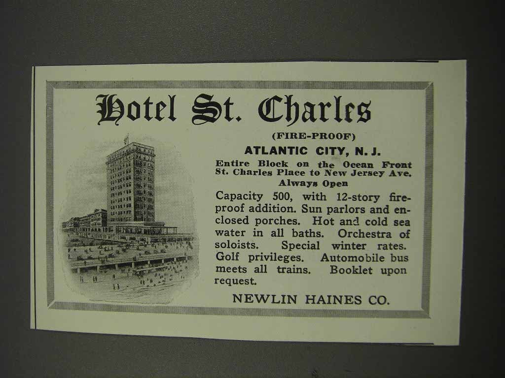 Primary image for 1918 Hotel St. Charles Atlantic City, NJ Ad