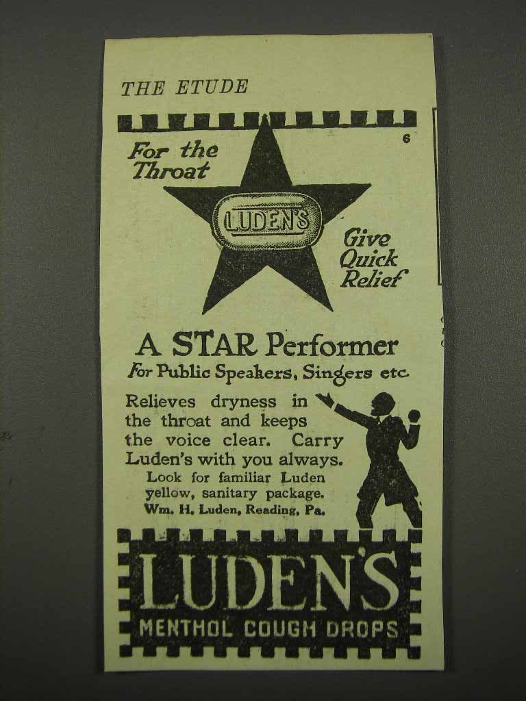 Primary image for 1918 Luden's Menthol Cough Drops Ad - For the Throat