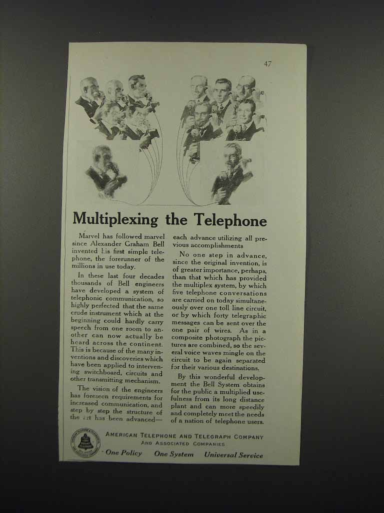 Primary image for 1919 AT&T Telephone Ad - Multiplexing the Telephone