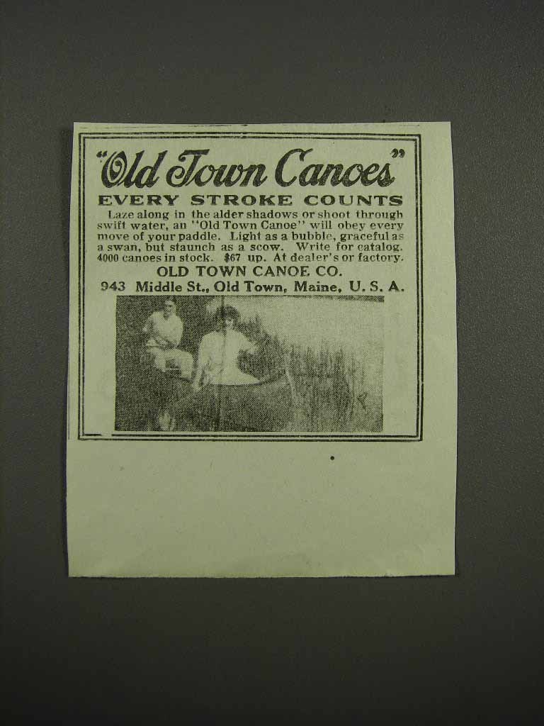 Primary image for 1920 Old Town Canoes Ad - Every Stroke Counts