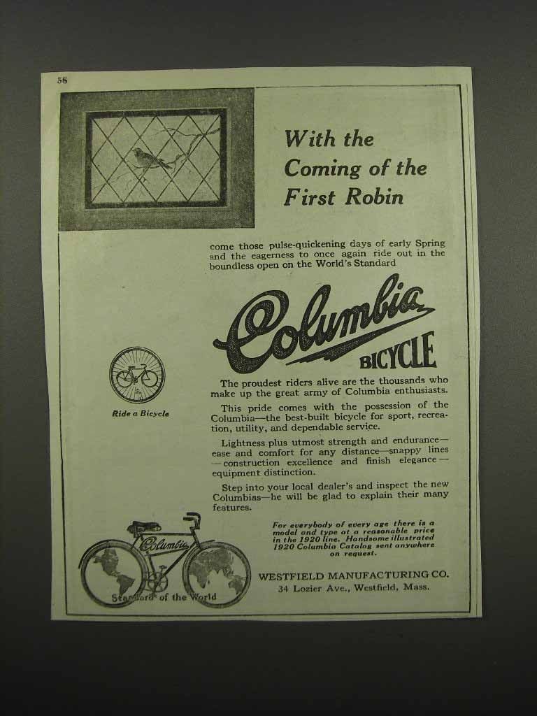 Primary image for 1920 Columbia Bicycles Ad - Coming of the First Robin
