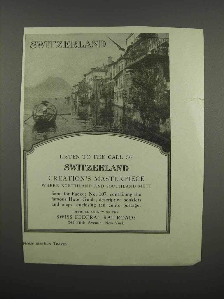 Primary image for 1920 Swiss Federal Railroads Ad - Listen to the Call