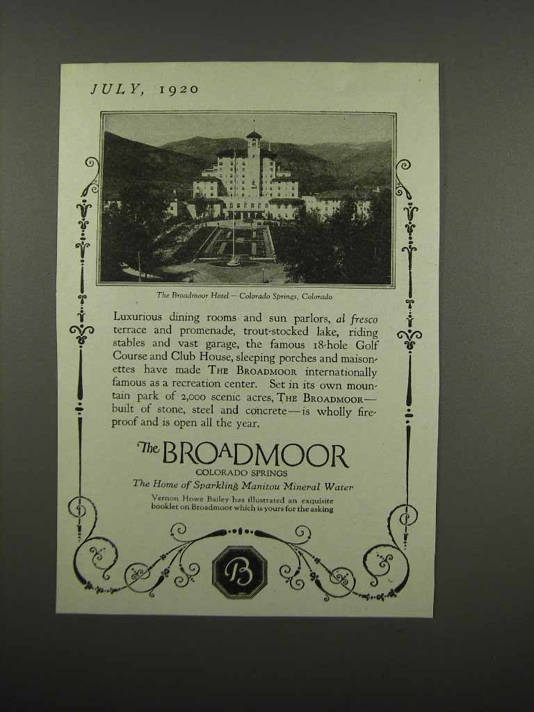 Primary image for 1920 The Broadmoor Hotel Ad - Colorado Springs