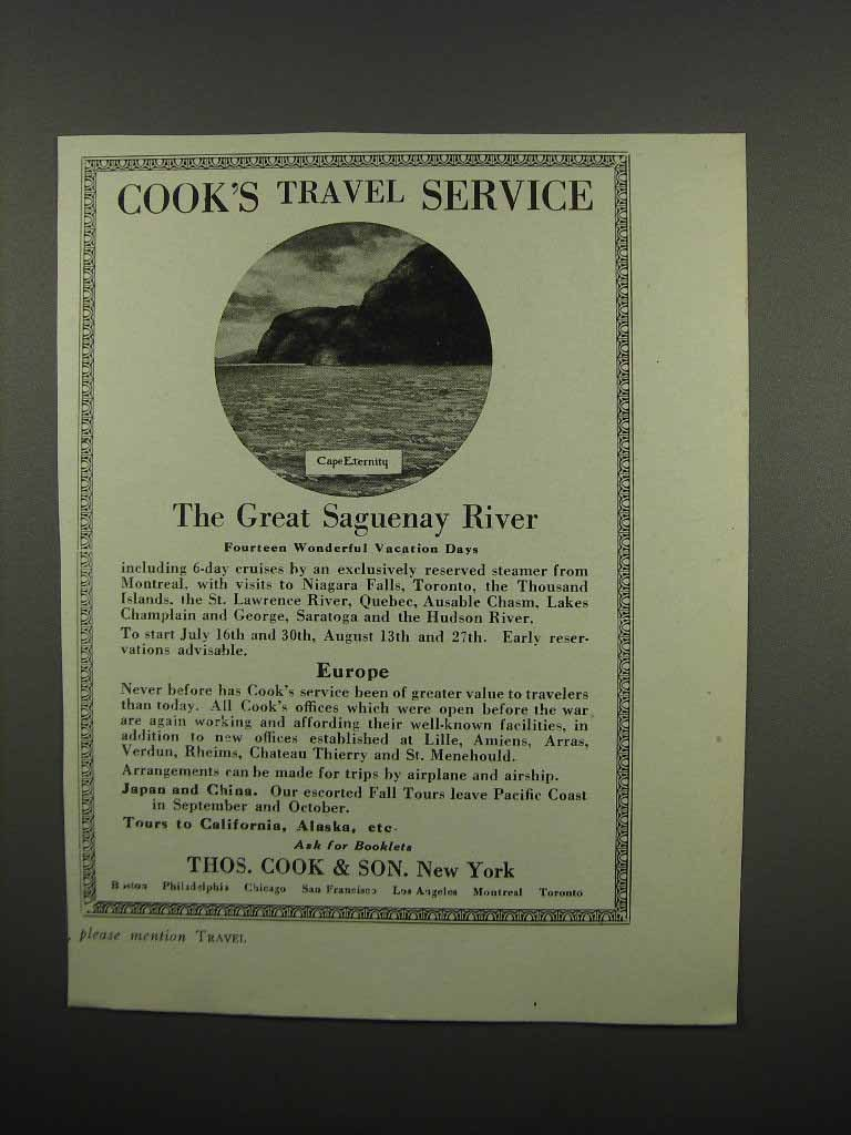 Primary image for 1920 Thos. Cook & Son Ad - Cape Eternity Saguenay River