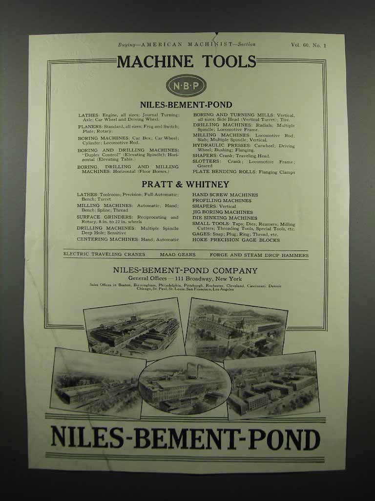 Primary image for 1924 Niles-Bement-Pont and Pratt & Whitney Tools Ad