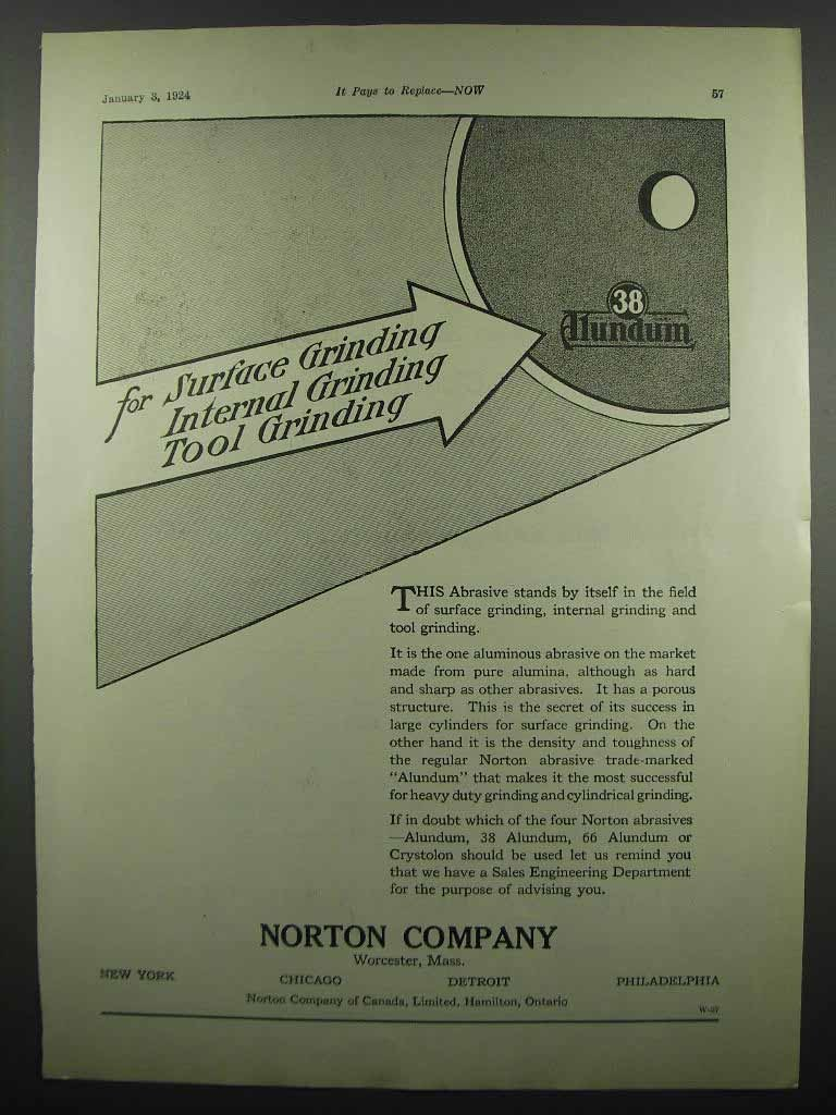 Primary image for 1924 Norton Alundum Grinding Abrasive Ad - For Surface