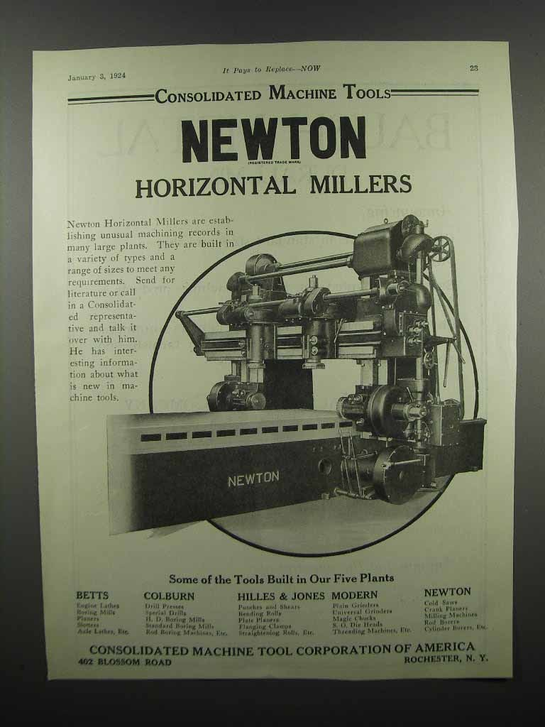 Primary image for 1924 Newton Horizontal Millers Ad