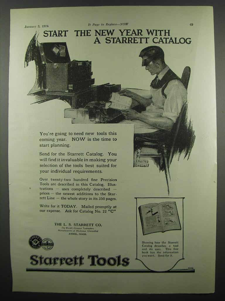 Primary image for 1924 Starrett Tools Ad - Start The New Year With