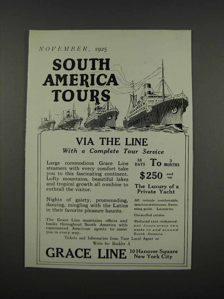 1925 Grace Line Ad - South America Tours - $14.99