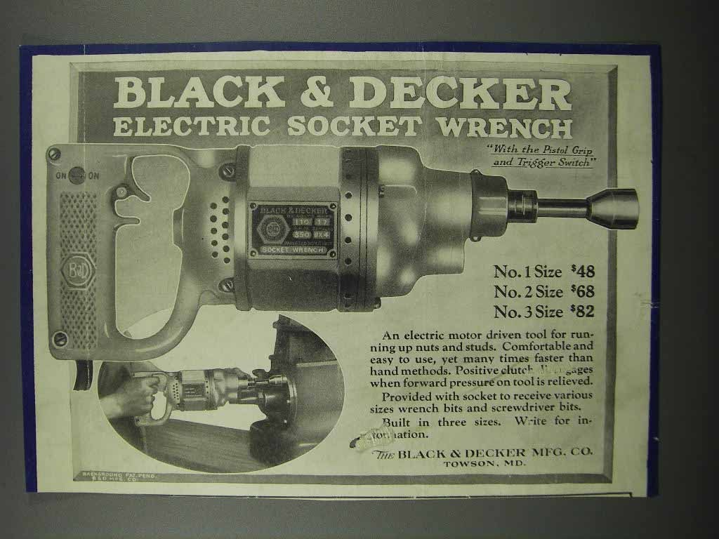 Primary image for 1924 Black & Decker Electric Socket Wrench Ad
