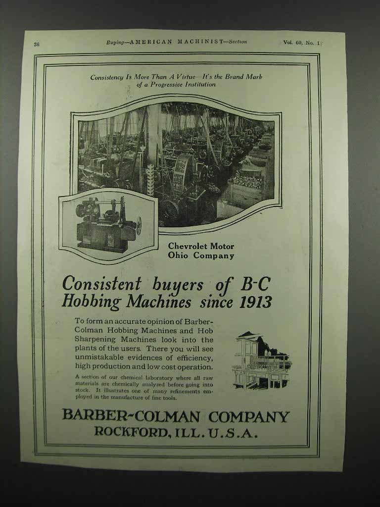 Primary image for 1924 Barber-Colman Hobbing Machines Ad - Chevrolet