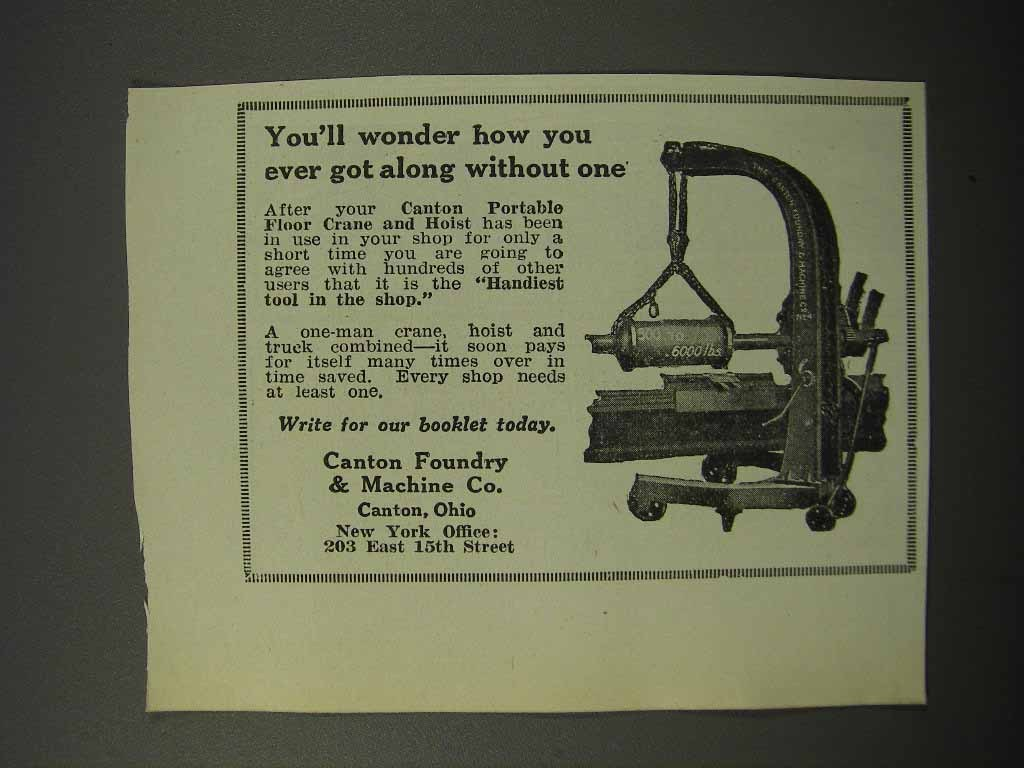 Primary image for 1924 Canton Foundry & Machine Portable Floor Crane Ad