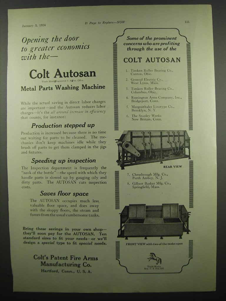 Primary image for 1924 Colt's Patent Fire Arms Manufacturing Autosan Ad