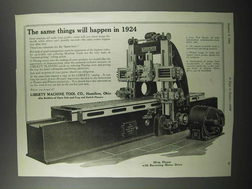 Primary image for 1924 Liberty 36-in. Planer w/ Reversing Motor Drive Ad