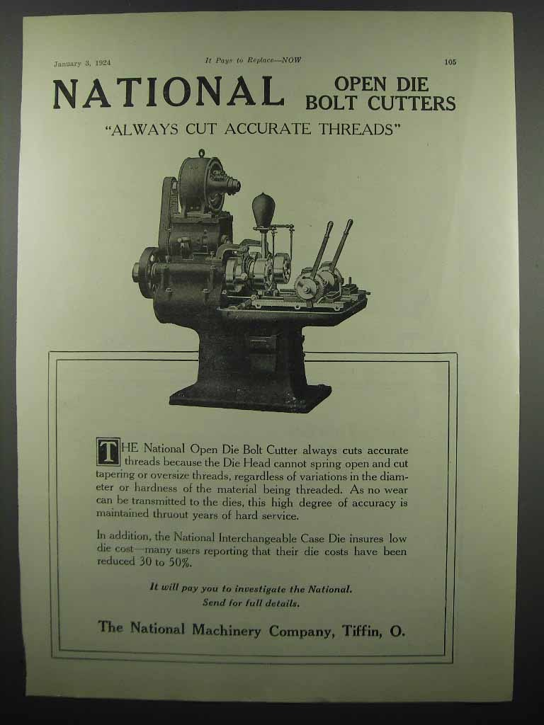 Primary image for 1924 National Machinery Co. Open Die Bolt Cutter Ad