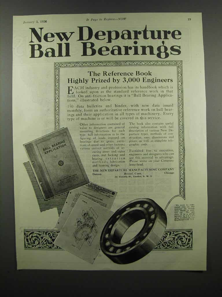 Primary image for 1924 New Departure Ball Bearings Ad
