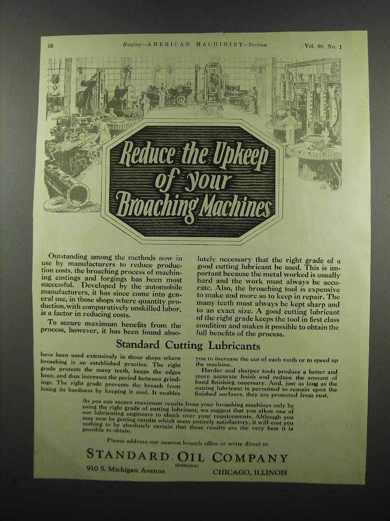 Primary image for 1924 Standard Oil Company Cutting Lubicrants Ad