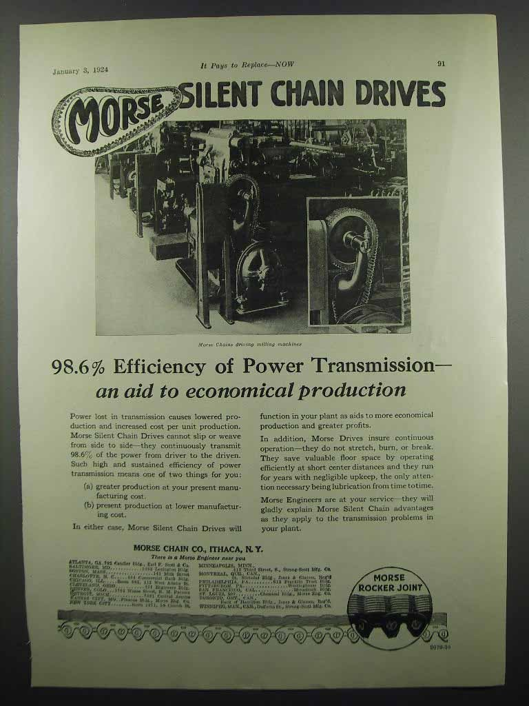 Primary image for 1924 Morse Chain Co. Ad - Efficiency Power Transmission