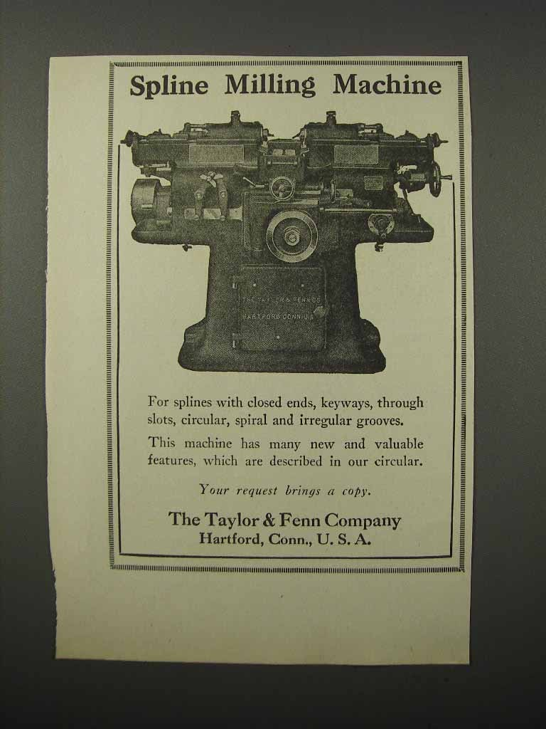 Primary image for 1924 The Taylor & Fenn Spline Milling Machine Ad