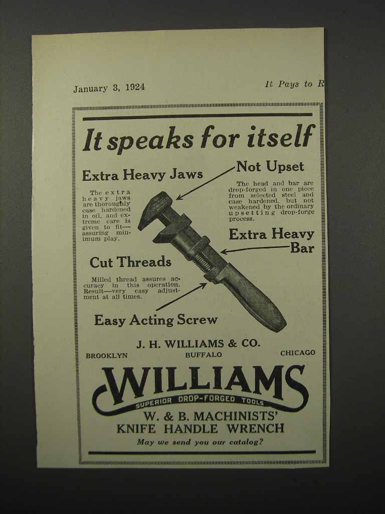 Primary image for 1924 Williams W&B Machinists' Knife Handle Wrench Ad