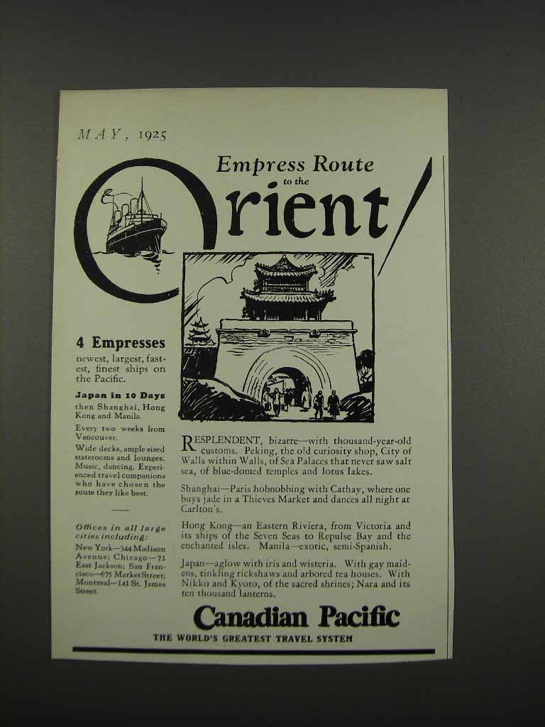 Primary image for 1925 Canadian Pacific Ad - Empress Route